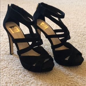 Dolce Vita Black and Gold Zipper Heels